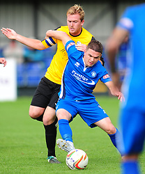 JAMES BISHOP  AFC DUNSTABLE BATTLES WITH MARLOW CHRIS OVENDEN, AFC Dunstable v Marlow FC Evo Stick League South East, Saturday 9th September 2017<br /> Score 2-1:Photo:Mike Capps