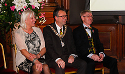 Pictured: Lord Provost Donal Wilson with his wife and Ken Buchannan<br /> Edinburgh Award for 2016 presented to Ken Buchanan at the city chambers. A ceremony at the City Chambers for the recipient of this year's award, Ken Buchanan, who was presented with a Loving Cup by the Lord Provost. He was also reunited with his hand-prints which have been set in a flagstone within the grounds of the City Chambers and see his name etched on the city&rsquo;s Edinburgh Award honour board <br /> <br /> Scott Louden | EEm 3 March 2017