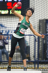 Windsor, Ontario ---2015-03-12--- Astrid Nyame of  Saskatchewan competes in the heptathlon shot put at the 2015 CIS Track and Field Championships in Windsor, Ontario, March 15, 2015.<br /> GEOFF ROBINS/ Mundo Sport Images