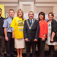 Jeff Moroney, Garda Bernard Kennedy, Mairead Kennedy, Cllr Tony O'Brien (Deputy Mayor of Clare), Bridie McGrath, Sarah Gunson and Broan Moriarty,<br /> The Killaloe/Ballina Committee of the Darkness into Light walk in aid of Suicide by Pieta House