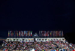 """Supporters during the 2nd Run of FIS Alpine Ski World Cup 2017/18 Men's Slalom race named """"Snow Queen Trophy 2018"""", on January 4, 2018 in Course Crveni Spust at Sljeme hill, Zagreb, Croatia. Photo by Vid Ponikvar / Sportida"""