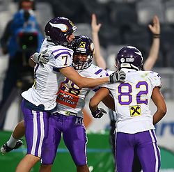 06.07.2013, Tivoli Stadion, Innsbruck, AUT, EFL Finale, Eurobowl XXVII, Swarco Raiders Tirol (AUT) vs Raiffeisen Vikings Vienna (AUT), im Bild Jubel nach dem Touchdown von  Michael Zweifel, (Raiffeisen Vikings Vienna, WR, #7),  Jesse Lewis, (Raiffeisen Vikings Vienna, RB, #28) und  Laurinho Walch, (Raiffeisen Vikings Vienna, WR, #82)  // during the Eurobowl XXVII between Swarco Raiders Tirol (AUT) and Raiffeisen Vikings Vienna (AUT) at the Tivoli Stadion, Innsbruck, Austria on 2013/07/06. EXPA Pictures © 2013, PhotoCredit: EXPA/ Thomas Haumer