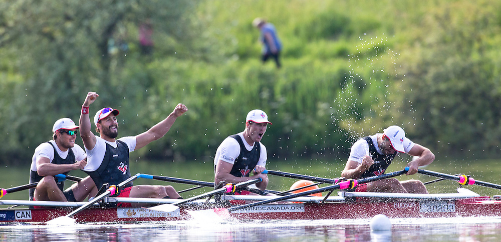 The Canadian Mens rowing quad of (left to right) Julien Bahain, Rob Gibson, Will Dean and Pascal Lussier qualify for the Rio Olympics in Lucerne Switzerland on May 24, 2016.