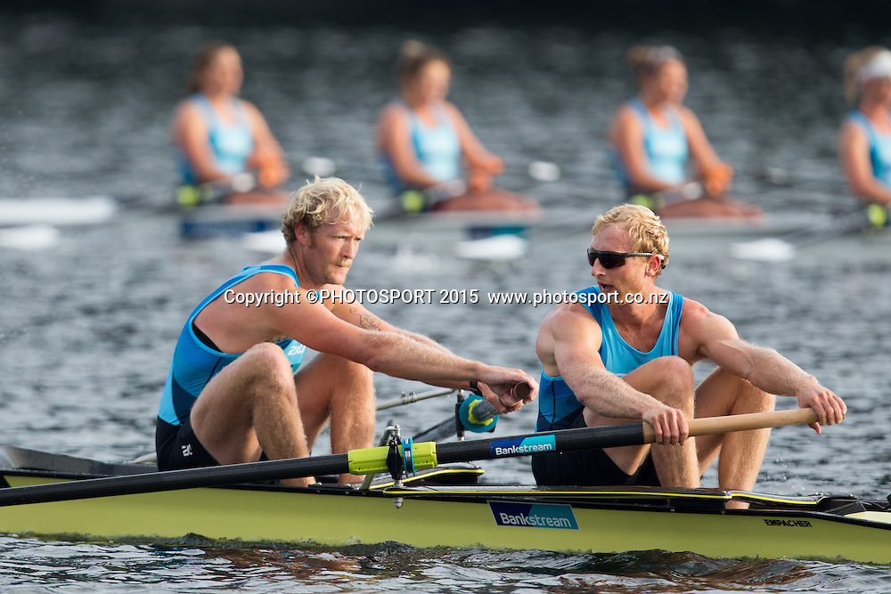 Men's Coxless Pair Eric Murray and Hamish Bond at the Rowing NZ Media Day, Lake Karapiro, Cambridge, New Zealand, Wednesday 6 May 2015. Photo: Stephen Barker/Photosport.co.nz