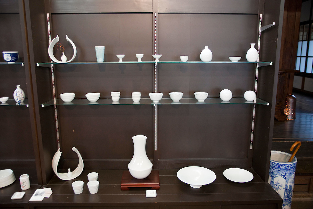 Typical Arita White Porcelain for sale in a shop in Arita