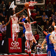 27 February 2018: San Diego State men's basketball hosts Boise State in it's last meet up of the regular season at Viejas Arena. San Diego State Aztecs forwards Jalen McDaniels (5) and Malik Pope (21) battles Boise State Broncos center Robin Jorch (10) for a rebound. The Aztecs lead 38-37 at halftime. <br /> More game action at sdsuaztecphotos.com