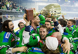 David Planko of Olimpija, Bostjan Groznik of Olimpija, Ales Music of Olimpija and other players of Olimpija celebrate after they became Slovenian National Champion 2016 after winning during ice hockey match between HDD Telemach Olimpija and HDD SIJ Acroni Jesenice in Final of Slovenian League 2015/16, on April 11, 2016 in Hala Tivoli, Ljubljana, Slovenia. Photo by Vid Ponikvar / Sportida