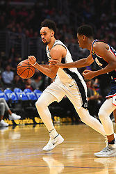 December 29, 2018 - Los Angeles, CA, U.S. - LOS ANGELES, CA - DECEMBER 29: San Antonio Spurs Forward Derrick White (4) brings the ball up the court during a NBA game between the San Antonio Spurs and the Los Angeles Clippers on December 29, 2018 at STAPLES Center in Los Angeles, CA. (Photo by Brian Rothmuller/Icon Sportswire) (Credit Image: © Brian Rothmuller/Icon SMI via ZUMA Press)