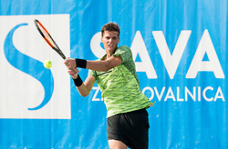 Nino Serdarusic (CRO) in action during Day 6 at ATP Challenger Zavarovalnica Sava Slovenia Open 2018, on August 8, 2018 in Sports centre, Portoroz/Portorose, Slovenia. Photo by Vid Ponikvar / Sportida
