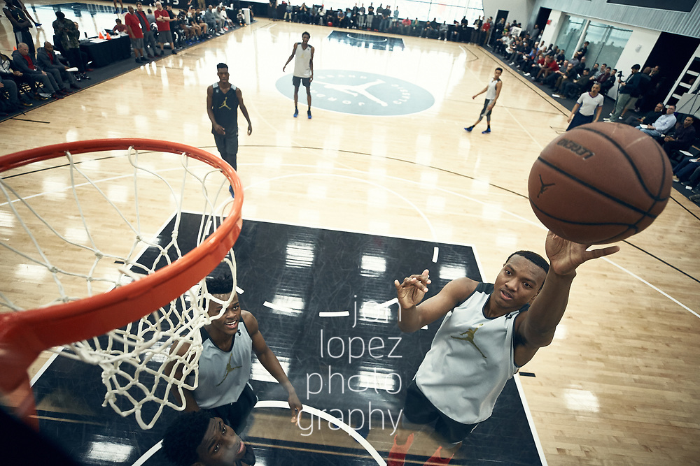 BROOKLYN, NEW YORK APRIL 12:  Jordan Brand Classic practice at the Brooklyn Nets training facility. NOTE TO USER: Mandatory Copyright Notice: Photo by Jon Lopez