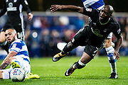 Fulham (7) Neeskens Kebano faulet in penalty box during the EFL Sky Bet Championship match between Queens Park Rangers and Fulham at the Loftus Road Stadium, London, England on 29 September 2017. Photo by Sebastian Frej.
