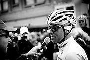 World Champion Thor Hushovd of Norway and riding for Garmin Cervelo is interviewed prior to the start of stage two of the 2011 AMGEN Tour of California from Nevada City to Sacramento in Nevada City, Calif. on Monday, May 16, 2011.