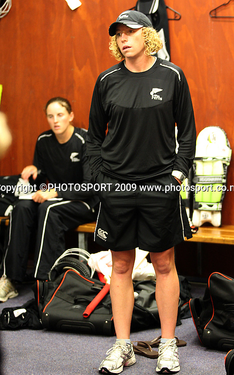 NZ captain Haidee Tiffen reflects on the abandoned match.<br /> Women's Rose Bowl cricket series - 5th ODI. New Zealand White Ferns v Australia at Allied Prime Basin Reserve, Wellington. Thursday, 12 February 2009. Photo: Dave Lintott/PHOTOSPORT