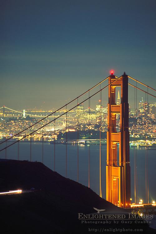 Golden Gate Bridge and San Francisco at night, Marin Headlands, Golden Gate National Recreation Area, Marin County, California