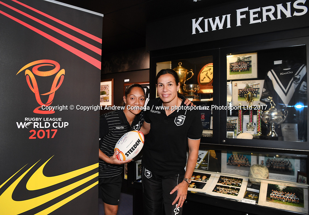 Kiwi Ferns captain Sarina Fiso and teammate Sharlene Atai promoting the Women's Rugby League World Cup. Auckland, New Zealand. Wednesday 2 August 2017. © COPYRIGHT PHOTO: ANDREW CORNAGA / WWW.PHOTOSPORT.NZ