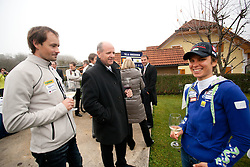 Matej Oblak, Borut Farcnik and Teja Gregorin at opening ceremony of rebuilded T. Gregorin's house after she moved from Ihan, on November 10, 2011, in Hotemaze at Kranj, Slovenia. (Photo by Vid Ponikvar / Sportida)