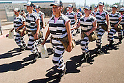 19 SEPTEMBER 2003 - PHOENIX, AZ: Women in the Chain Gang in the Maricopa County Jail. County Sheriff Joe Arpaio has both men and women's chain gangs. Some in the community, and Amnesty International, complain that the chain gangs violate prisoners' human rights. But the chain gangs have proven to be very popular with conservative right wing voters in Maricopa County, which is Arpaio's base. PHOTO BY JACK KURTZ