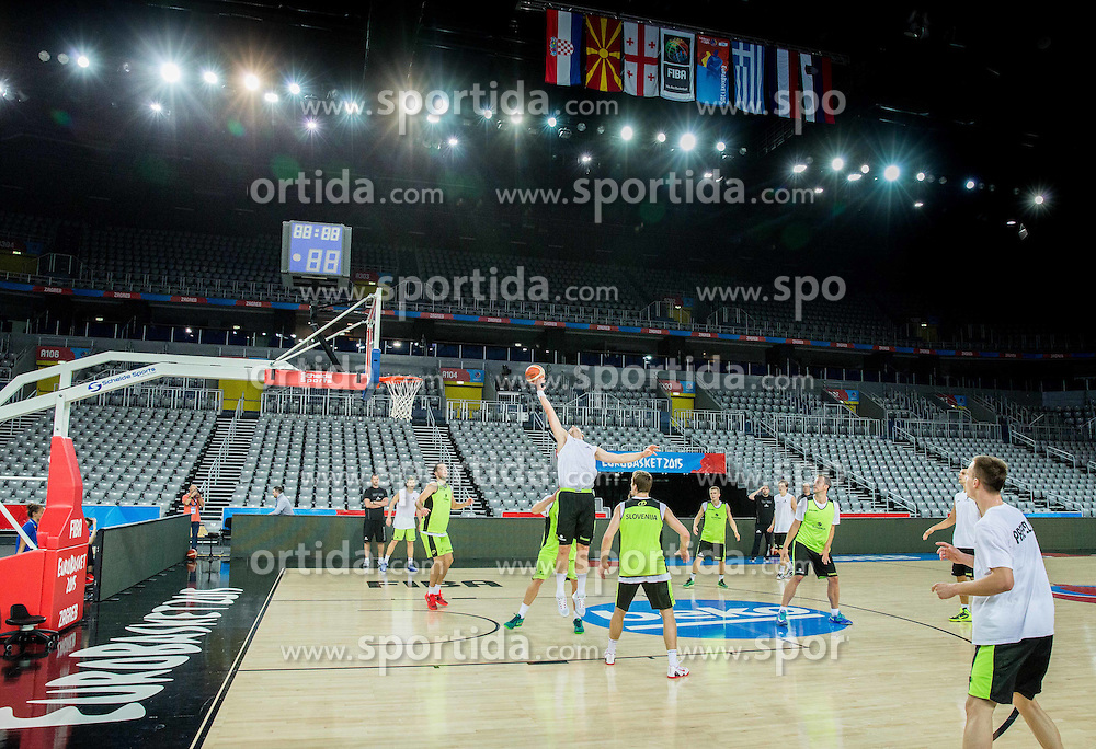 Practice session of Slovenia National Basketball Team 1 day prior to the FIBA Europe Eurobasket 2015, on September 4, 2015, in Arena Zagreb, Croatia. Photo by Vid Ponikvar / Sportida