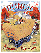 Punch Autumn Number fron cover (Mr Punch sleeping on amound of hay in a horse drawn wagon with dog Toby running alongside)