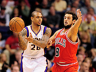 Nov. 14, 2012; Phoenix, AZ, USA; Phoenix Suns guard Shannon Brown (26) handles the ball during the game against the Chicago Bulls guard Marco Belinelli (8) in the first half at US Airways Center. Mandatory Credit: Jennifer Stewart-US PRESSWIRE