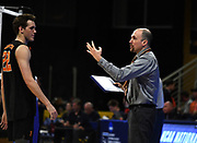 Princeton Tigers coach Sam Shweisky (r9ght)talks with outside hitter Parker Dixon (22) during an NCAA Championships opening round match against the Pepperdine Waves, Wednesday, April 30, 2019, in Long Beach, Calif. Pepperdine defeated Princeton 25-23, 19-25, 25-16, 22-25, 15-8.