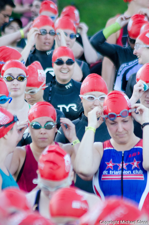 16 Jul 2017  NYC, New York, USA// Participants gather to race in the NYC Triathalon at the Hudson river.  Michael Glenn / Glenn Images