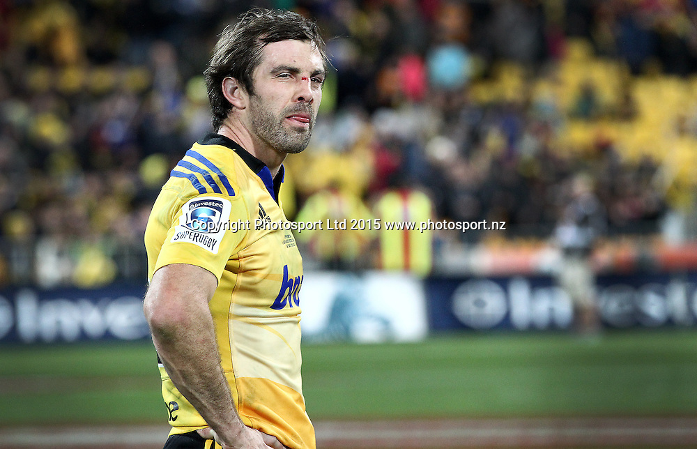 A dejected Conrad Smith following their loss during the Super Rugby Final, Hurricanes v Highlanders. Westpac Stadium, Wellington, New Zealand. 4 July 2015. Copyright Photo.: Grant Down / www.photosport.nz