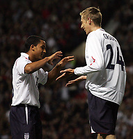 Photo: Paul Thomas.<br /> England v Hungary. International Friendly. 30/05/2006.<br /> <br /> Peter Crouch (R) of England celebrates his goal with Theo Walcott.