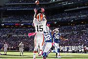 October 21, 2012:  Cleveland Browns wide receiver Greg Little (15) makes a leaping catch during an NFL game between the Cleveland Browns and the Indianapolis Colts at Lucas Oil Stadium in Indianapolis, IN.