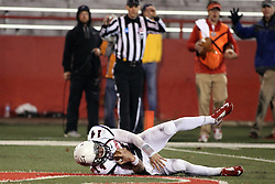 11 December 2015:  David Broadus gets away from DraShane Glass(14) and stumbles into the end zone. NCAA FCS Quarter Final Football Playoff game between Richmond Spiders and Illinois State Redbirds at Hancock Stadium in Normal IL (Photo by Alan Look)