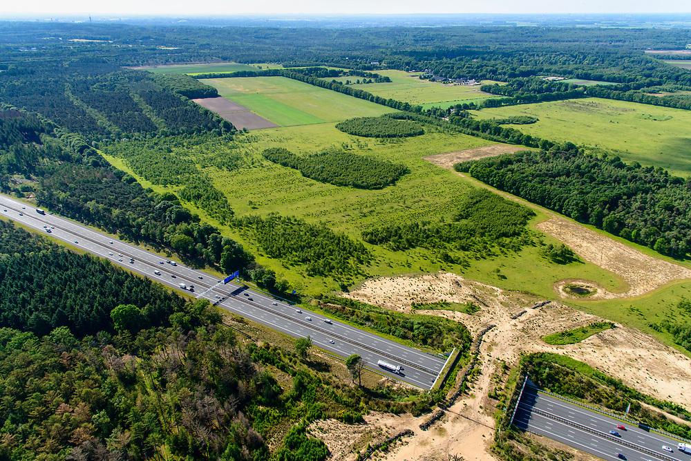 Nederland, Gelderland, Wolfheze, 29-05-2019; Ecoduct Jac. P. Thijsse overbrugt de A12 en verbindt de natuurgebieden Planken Wambuis en Reijerscamp. Is gebouwd om de versnippering tegen te gaan.<br /> Ecoduct Jac. P.Thijsse cross motorway  A12,  connects nature reserves the Planken Wambuis and Reijerscamp.<br /> luchtfoto (toeslag op standard tarieven);<br /> aerial photo (additional fee required);<br /> copyright foto/photo Siebe Swart