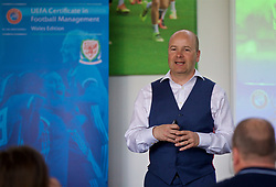 NEWPORT, WALES - Wednesday, April 25, 2018: FAW Chief-Executive Jonathan Ford gives a presentation during a UEFA Certificate in Football Management - Wales Edition at Dragon Park. (Pic by David Rawcliffe/Propaganda)