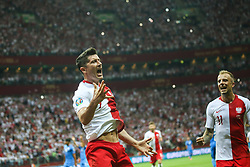 June 10, 2019 - Warsaw, Poland - Poland's forward Robert Lewandowski celebrate with temmate Kamil Grosicki after scoring during the UEFA Euro 2020 qualifier Group G football match Poland against Israel on June 10, 2019 in Warsaw, Poland. (Credit Image: © Foto Olimpik/NurPhoto via ZUMA Press)