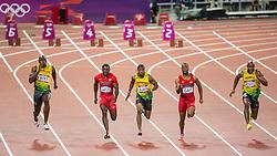05-08-2012 ATLETIEK: OLYMPISCHE SPELEN 2012: LONDEN<br />  Gold Medal Usain Bolt (JAM) and bronze medal Justin Gatlin (USA) and silver medal Yohan Blake (JAM), Tyson Gay (USA) and Asafa Powell (JAM) during Men 100m Final <br /> ***NETHERLANDS ONLY***<br /> ©2012-FotoHoogendoorn.nl