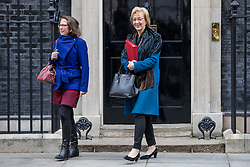 © Licensed to London News Pictures. 29/01/2019. London, UK. Leader of the House of Lords Baroness Natalie Evans (L) and Leader of the House of Commons Andrea Leadsom (R) leave 10 Downing Street after the Cabinet meeting, as Brexit negotiations continue. MPs will vote on a series of amendments this evening. Photo credit: Rob Pinney/LNP