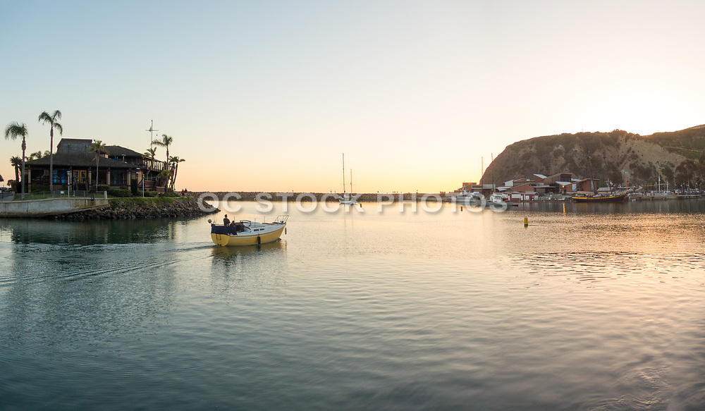 Boating In The Dana Point Harbor West Basin At Sunset