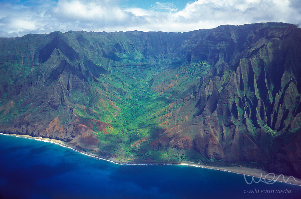 Aerial image of Kalalau Valley on Kauai's spectacular Napali coast, Hawaii, USA.