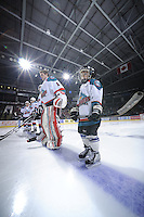 KELOWNA, CANADA, FEBRUARY 11: The Pepsi Save-On Foods Player of the Game stands in the starting line-up as the Kamloops Blazers visit the Kelowna Rockets on February 11, 2012 at Prospera Place in Kelowna, British Columbia, Canada (Photo by Marissa Baecker/Shoot the Breeze) *** Local Caption ***