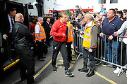 Liverpool midfielder Lucas Leiva arriving before the Barclays Premier League match between Bournemouth and Liverpool at the Goldsands Stadium, Bournemouth, England on 17 April 2016. Photo by Graham Hunt.