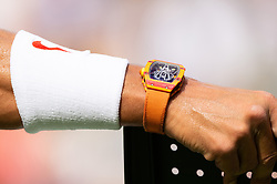 © Licensed to London News Pictures. 09/07/2018. London, UK.  Close-up of Rafael Nadal's £550,000 Richard Mille RM27-03 wrist watch as he plays Jiri Vesely of the Czech Republic in the men's 4th round singles draw of the Wimbledon Tennis Championships 2018, at the All England Lawn Tennis and Croquet Club. Photo credit: Ray Tang/LNP