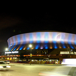 Jan 19, 2013; New Orleans, LA, USA;  A general view outside of the Mercedes-Benz Superdome as preparations are made for Super Bowl XLVII between the Baltimore Ravens and the San Francisco 49ers.  Mandatory Credit: Derick E. Hingle-USA TODAY Sports