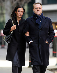 © Licensed to London News Pictures. 28/02/2017. London, UK. Emma and  Mark Holyoake arrive at the Royal Courts of Justice in London. Bothers Nick and Christian Candy are being sued in a dispute over a £12m loan which was used to help fund Holyoake's own project at Grosvenor Gardens House in central London. Photo credit: Ben Cawthra/LNP