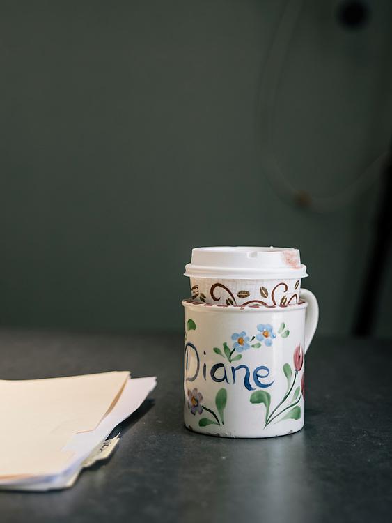 Diane Rehm's coffee mug during her broadcast of the Diane Rehm Show on NPR in Washington D.C.