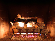 Indoor Fire place with gas burner and fake wood