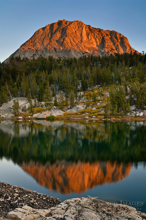 Sunset alpenglow light on Fletcher Peak reflected in Boothe Lake, Vogelsang region, Yosemite National Park, California