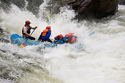 Unidentified whitewater rafters power their raft through the rapids at Sweet's Falls on the Gauley River during American Whitewater's Gauley Fest weekend. The upper Gauley, located in the Gauley River National Recreation Area is considered one of premier whitewater rivers in the country.