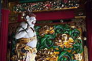 JAPAN, NIKKO - August 2012 - the gods of the third gate Yashamon of the Taiyuin byo in the Rinnoji, the mausoleum of Tokugawa Iemitsu (the third shogun of the Tokugawa shogunate) built by one of the top architects at the time. Rinno-ji became the temple where memorial services were held for Iemitsu, and it enjoyed the close protection of the Tokugawa shogunate.site calssified as Japanese Cultural property and world heritage by UNESCO [FR] La porte Yashamon du mausolée Taiyuin, ou Taiyuinbyo, est consacré à Iemitsu, le troisième shogun Tokugawa. Il  fut construit à proximité du sanctuaire Toshogu, rendant hommage à l'architecture de ce dernier. Site classé propriete culturelle du Japon et patrimoine mondial de l'UNESCO