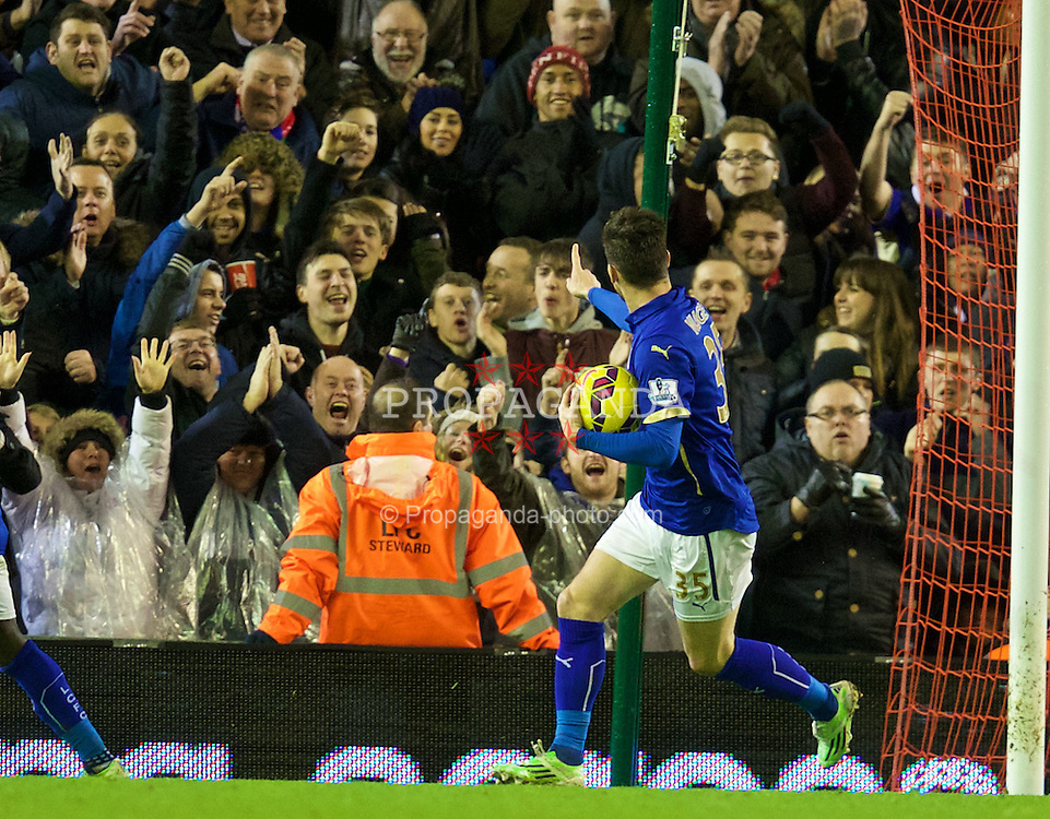 LIVERPOOL, ENGLAND - Thursday, New Year's Day, January 1, 2015: Leicester City's David Nugent celebrates scoring the first goal against Liverpool during the Premier League match at Anfield. (Pic by David Rawcliffe/Propaganda)