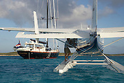 Super yacht, 115ft Tenacious photographed off the Exumas, Bahamas