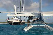 Super yacht, 115ft Tenacious photographed off the Exumas, Bahamas